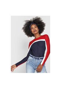 Blusa Lunender Color Vermelha/Azul-Marinho