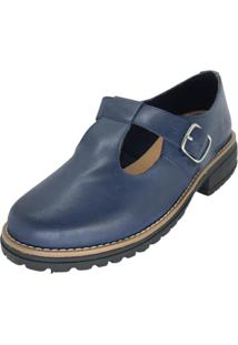 Sapato Boneca Couro Dani K Azul