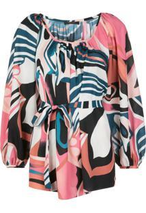 Natori Blusa Com Estampa Abstrata E Amarração Na Cintura - Rosa