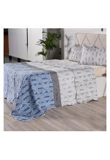 Kit 1 Cobre Leito + Porta Travesseiros Casal Ultra Lisse Rolinho Geometric Classe - Bene Casa