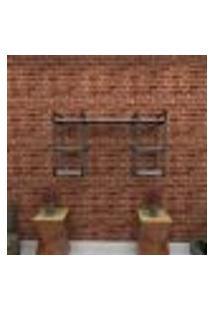 Estante Estilo Industrial Sala Aço Cor Preto 120X30X68Cm (C)X(L)X(A) Cor Mdf Cinza Modelo Ind29Csl