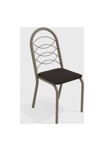 Cadeira Holanda Nickel/Preto De Metal (Par) Kappesberg