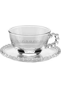 Conjunto De 4 Xícaras De Cristal Wolff Para Chá Com Pires Pearl 200Ml
