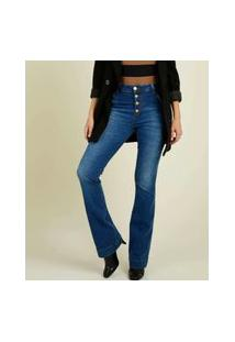 Calça Jeans Flare Feminina Cintura Alta Botões
