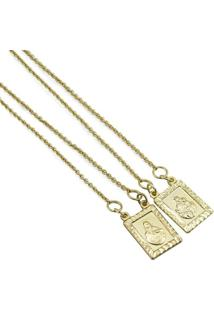 Escapulário Coração De Jesus E Nossa Senhora Do Carmo Tudo Joias Folheado A Ouro 18K - Unissex-Dourado
