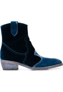 Madison.Maison Ankle Boot De Veludo - Azul