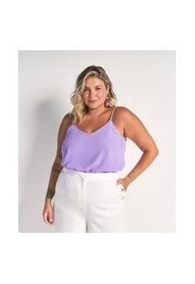 Blusa Regata Em Crepe Com Alças Finas Curve & Plus Size | Ashua Curve E Plus Size | Roxo | G