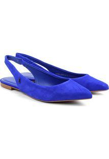 Sapatilha Couro Santa Lolla Bico Fino Chanel Feminina - Feminino-Azul Escuro