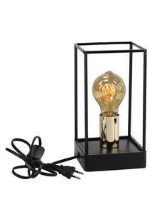 Luminária De Metal Preto E Dourado Com Lampada De Filamento 127V