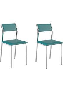 Kit 2 Cadeiras 1709 Turquesa/Cromado - Carraro Móveis