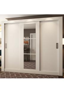 Guarda-Roupa Casal 2 Metros 3 Portas De Correr Com Espelho Madri Plus Branco - Pnr Móveis