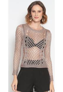 Blusa Em Crochê Com Fios Metalizados- Rosê- Le Fixle Fix