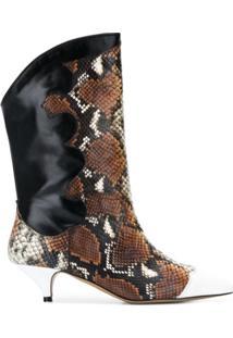 Ganni Ankle Boot De Pele De Cobra - Marrom