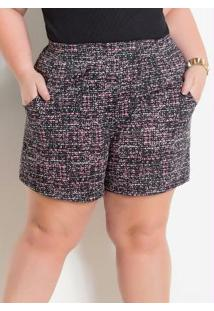 Shorts Com Bolsos Abstrato Marguerite Plus Size