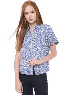 Camisa Calvin Klein Jeans Reta Florida Azul