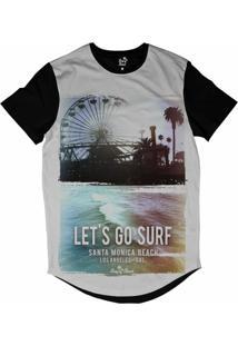 Camiseta Longline Long Beach Coleção Praias Vamos Surfar Santa Monica Sublimada Branco