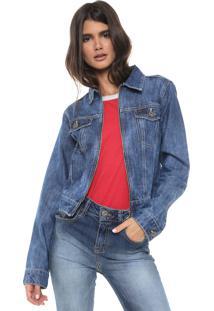Jaqueta Jeans Cropped Be Red Pespontos Azul