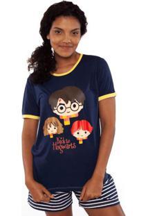 Pijama Manga Curta Adulto Puket Harry Potter Azul Marinho Incolor - Tricae