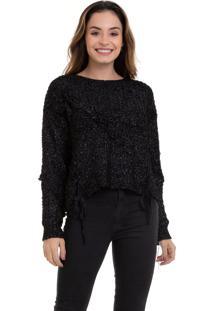 Suéter Kinara Tricot Com Trançado Preto - Kanui