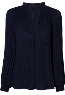 Blusa Le Lis Blanc Plissada Nicole Azul Marinho Feminina (Dark Blue, 50)