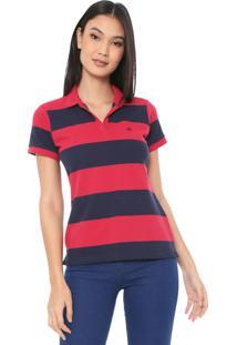 Camisa Polo Dudalina Listrada Vermelha
