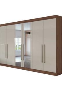 Guarda Roupa Casal Com Espelho 6 Portas 4 Gavetas Castellaro Bege - Tricae