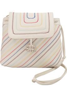Allmost Vintage Bolsa Saco 'Zigzag Rainbow' - Off White