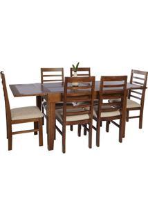 Mesa Flex Extensível Com 6 Cadeiras Roma Bege Escuro