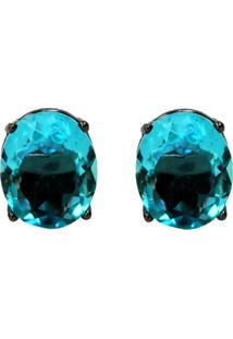 Brinco Rã³Dio Negro Ania Store Oval Azul - Azul - Feminino - Dafiti