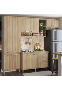 Cozinha Compacta 9 Portas 3 Gavetas Com Balcão Para Pia 5840 Argila - Multimóveis