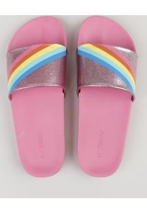 Chinelo Slide Feminino Com Glitter E Arco Íris Rosa