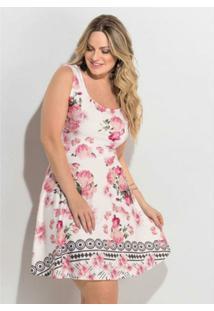 f47401da1 ... Vestido Floral Clássico Sem Mangas Quintess Plus Size - Feminino-Branco
