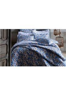 Colcha Casal Sultan Blue Flowers Em Malha 30-1 Fios Com 2 Peças - Estampada