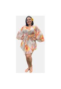 Vestido Kimono Curto Social Verão Tnm Collection Plus Size Casual Festa Floral