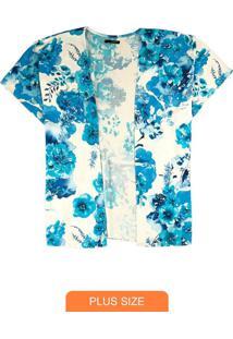 Cardigan Azul Floral Em Viscose
