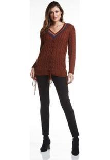 Blusa Wool Line Tricot Trança Decote Listrado Feminina - Feminino-Terracota
