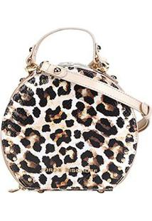 Bolsa Couro Mini Bag Jorge Bischoff Redonda Animal Print Onça - Feminino-Bege