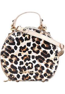 Bolsa Mini Bag Jorge Bischoff Redonda Animal Print Onça - Feminino-Bege