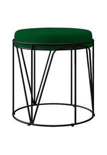 Puff Decorativo Aramado Preto Zaya L02 Suede Verde Musgo - Lyam Decor