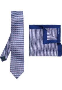 Lanvin Conjunto Gravata E Lenço - Azul