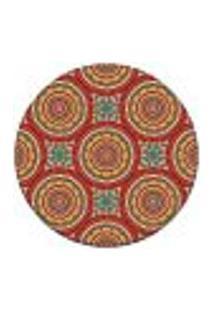 Tapete Redondo Wevans Mandala Laranja 94Cm
