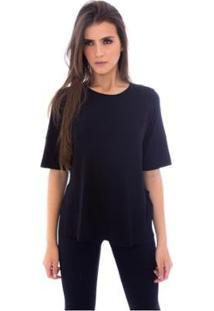 Blusa Moda Vicio Com Abertura Na Lateral Feminino - Feminino-Preto