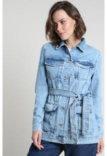 Jaqueta Jeans Feminina Alongada Com Bolsos E Faixa Para Amarrar Azul Claro