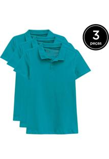 Kit Basicamente. 3 Camisas Polo Verde