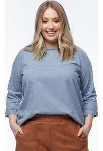 Blusa Plus Size Jeans Com Laço Nas Costas