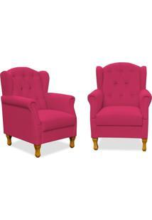 Kit 02 Poltronas Decorativas Para Sala De Estar Lymdecor Yara Suede Pink