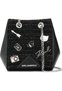 Karl Lagerfeld Bolsa Tiracolo 'K/Klassik' De Couro - Preto