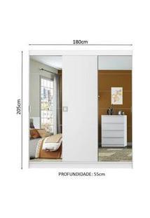 Guarda-Roupa Casal Madesa Veneza 3 Portas De Correr 2 Portas Com Espelho Branco Branco