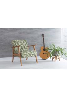 Poltrona De Sala Acacia Verniz Amendoa Tec.S1865 Folhas Verdes 72X73X85 Cm