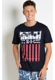 Camiseta Preta Com Estampa Surf
